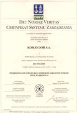 Certyfikat Jakości ISO 9001